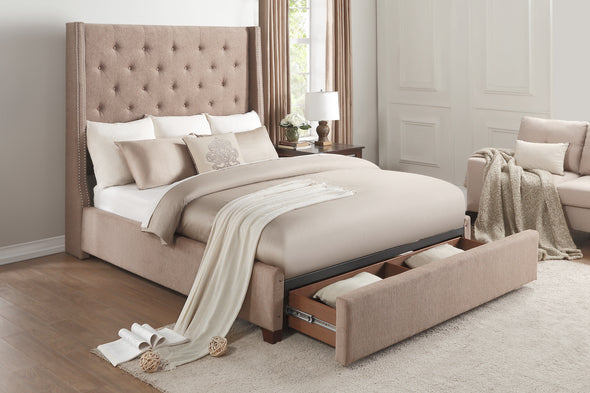 Fairborn Brown Tufted Full Platform Bed with Storage Footboard - Luna Furniture