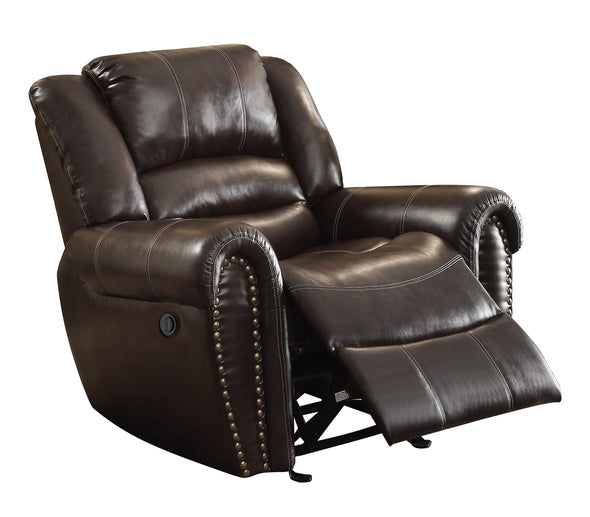 Center Hill Brown Bonded Leather Reclining Chair - Luna Furniture