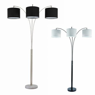 "3-Way White Shade Black 82"" Floor Lamp"