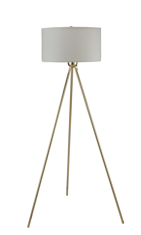 "Drum Shade 3-Leg Gold 60"" Floor Lamp - Luna Furniture"