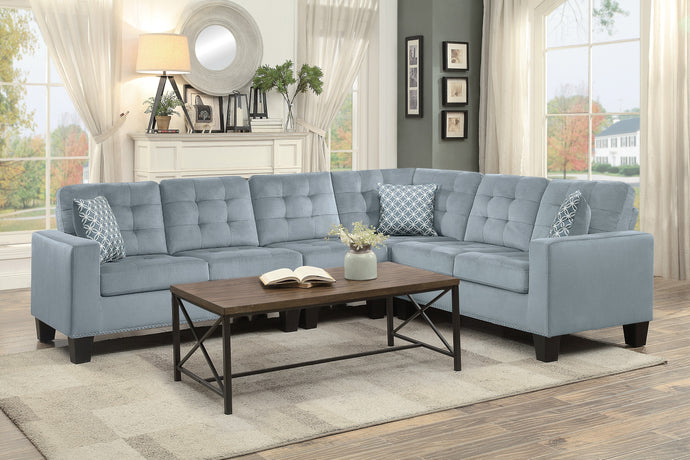 Lantana Gray Classic Sectional with Pillows | 9957 - Bellaria Furniture HomeStore