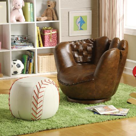 Baseball Glove Chair & Ottoman - Luna Furniture