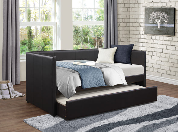 Adra Dark Brown Daybed with Trundle - Luna Furniture