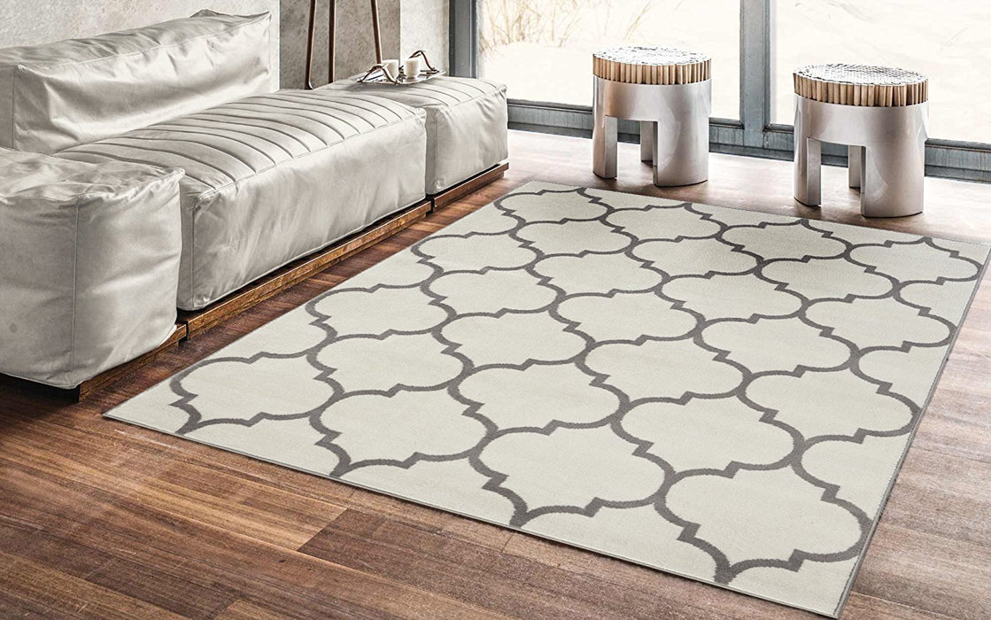 Royal 1329 Moroccan Trellis Cream Area Rug 5X7 — Bellaria