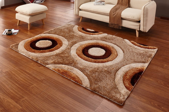 CSR4021 - Casa Regina Shaggy 3D Circles Brown/Beige 5X7 Area Rug - Luna Furniture
