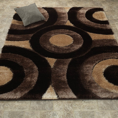 Casa Shaggy Geometric Circles Brown/Beige Area Rug - Luna Furniture