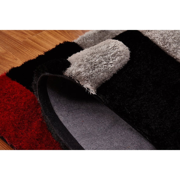 CSR4053 - Casa Regina Shaggy 3D Lines Red/Black 5X7 Area Rug - Luna Furniture