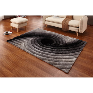 CSR4073 - Casa Regina Shaggy 3D Spiral Swirl Grey Area Rug - Bellaria Furniture HomeStore