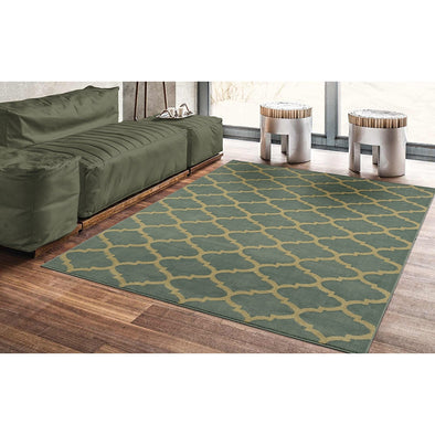 Royal Moroccan Trellis Green Area Rug - 5X7 - Luna Furniture