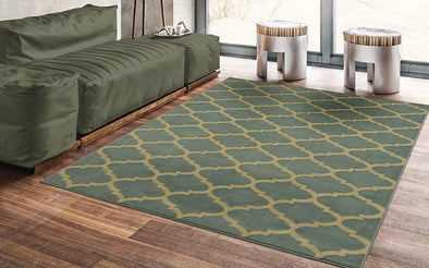 Royal Moroccan Trellis Green Area Rug - 8x10 - Luna Furniture