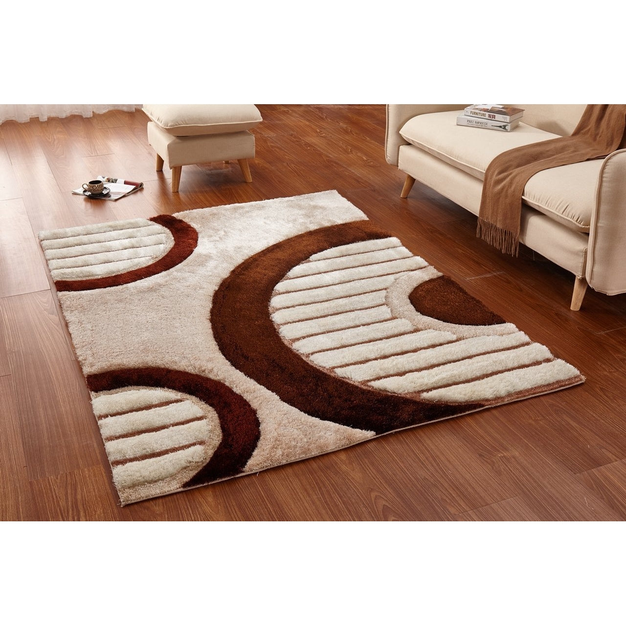 CSR4091 - Casa Regina Shaggy 3D Lined Circle Brown/Beige Area Rug - Bellaria Furniture HomeStore