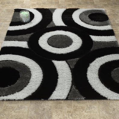 Casa Shaggy Geometric Circles Black/White Area Rug - Luna Furniture