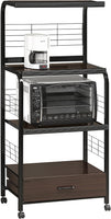 Kitchen Shelf Black/Brown on Casters - Luna Furniture