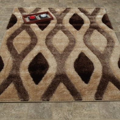 Casa Shaggy Geometric Trellis Brown/Beige Area Rug - Luna Furniture