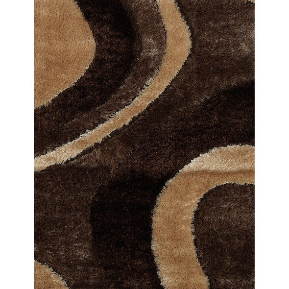 Casa Shaggy Abstract Waves Brown/Beige Area Rug - Luna Furniture