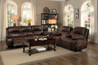 Mahala Brown Top Grain Leather Reclining Living Room Set - Luna Furniture