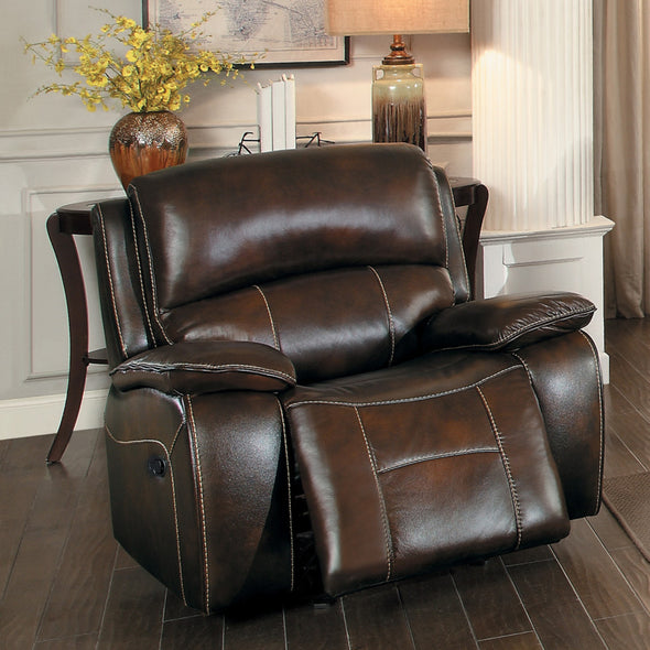 Mahala Brown Top Grain Leather Reclining Chair - Luna Furniture