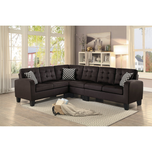 Sinclair Chocolate Sectional - Luna Furniture