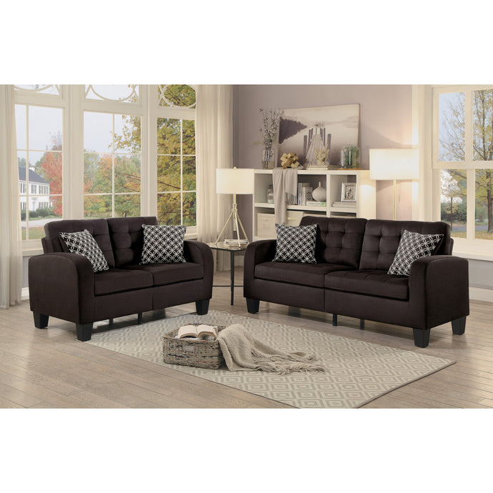 [MONTHLY SPECIAL] Sinclair Chocolate Retro Living Room Set with Pillows | 8202 - Bellaria Furniture HomeStore