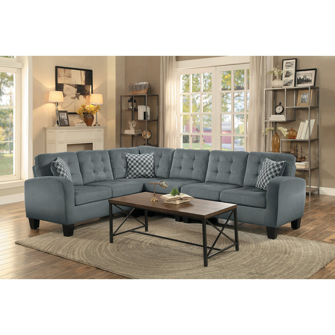 [MONTHLY SPECIAL] Sinclair Gray Retro Sectional with Pillows | 8202 - Bellaria Furniture HomeStore