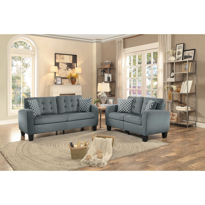 [MONTHLY SPECIAL] Sinclair Gray Retro Living Room Set with Pillows | 8202 - Bellaria Furniture HomeStore