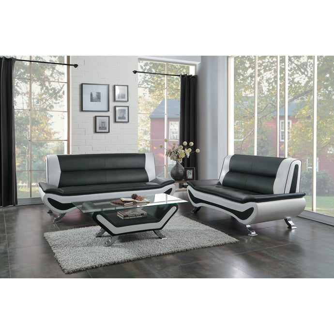 [MONTHLY SPECIAL] Veloce Black/Ivory Vinyl Living Room Set | 8219 - Bellaria Furniture HomeStore