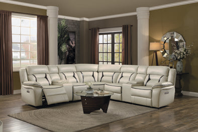 Amite Beige Leather Gel Power Reclining Sectional