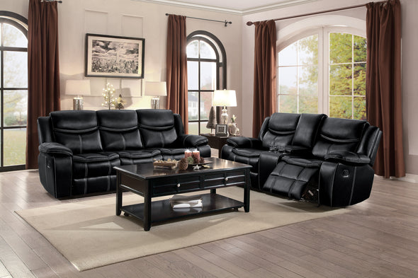Bastrop Black Reclining Loveseat - Luna Furniture