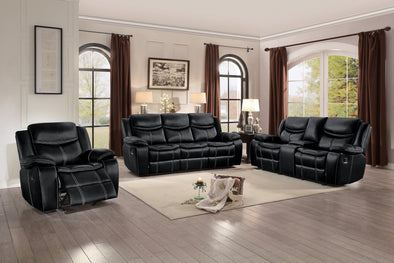 Bastrop Black Leather Gel Match Double Reclining Living Room Set | 8230