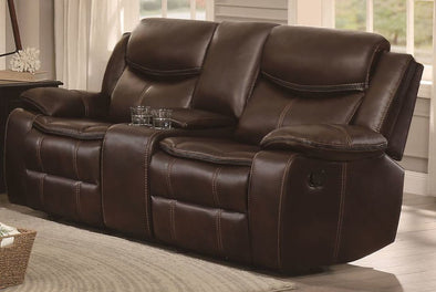 Bastrop Brown Leather Gel Reclining Loveseat - Luna Furniture