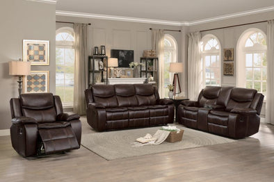 Bastrop Brown Leather Gel Match Double Reclining Living Room Set | 8230