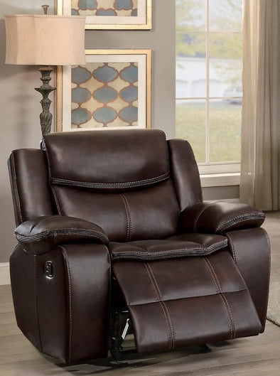 Bastrop Brown Leather Gel Reclining Chair - Luna Furniture