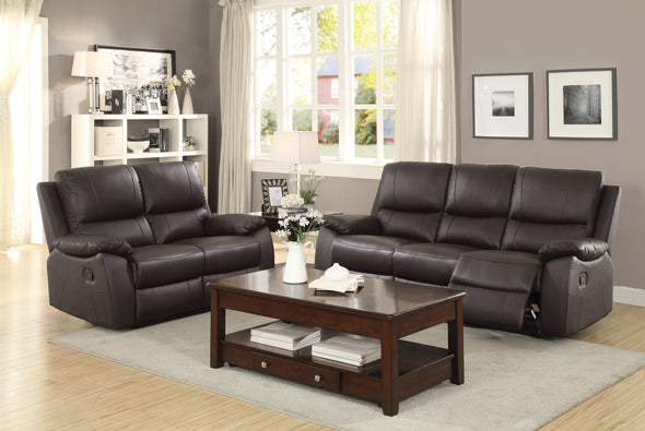 Greeley Brown Top Grain Leather Reclining Living Room Set - Luna Furniture
