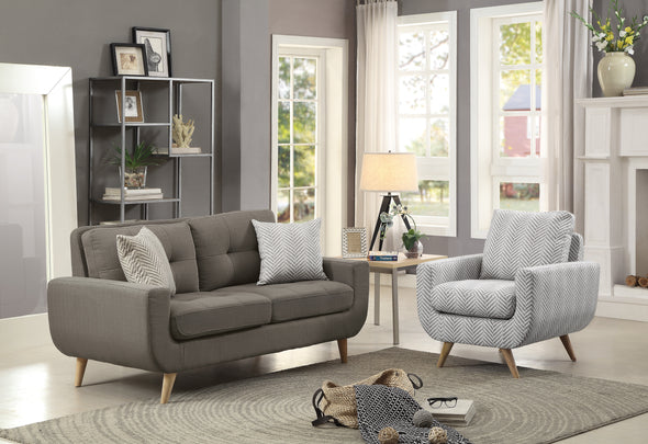 Deryn Gray Living Room Set - Luna Furniture