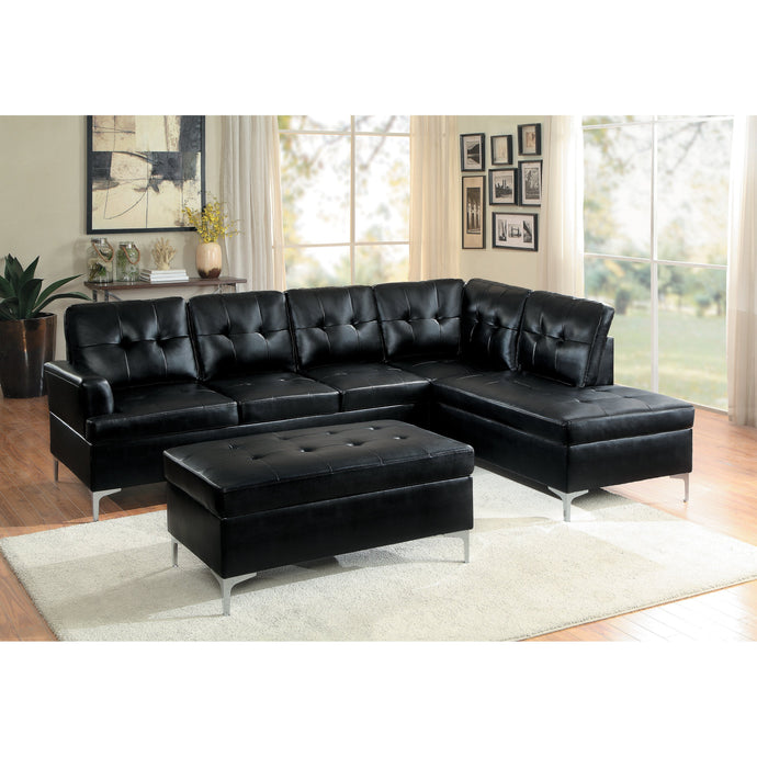 [MONTHLY SPECIAL] Barrington Black Vinyl Sectional | 8378 - Bellaria Furniture HomeStore