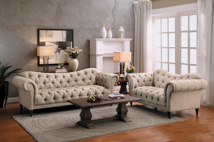 St. Claire Beige Button-Tufted Living Room Set | 8469 - Bellaria Furniture HomeStore