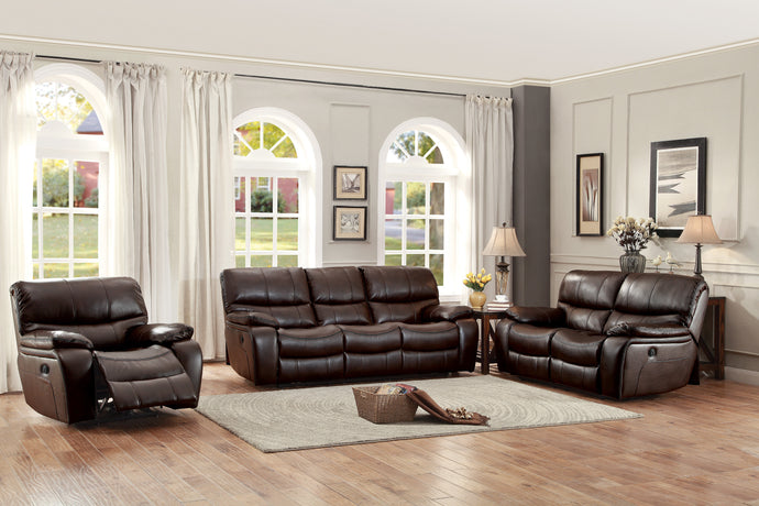 [MONTHLY SPECIAL] Pecos Brown Leather Gel Double Reclining Living Room Set | 8480 - Bellaria Furniture HomeStore