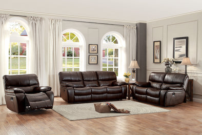 Pecos Brown Leather Gel Match Double Reclining Living Room Set | 8480