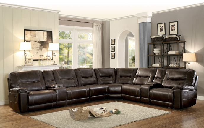 [MONTHLY SPECIAL] Columbus Brown Leather Gel Power Reclining Sectional | 8490 - Bellaria Furniture HomeStore