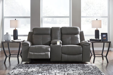 Jesolo Dark Gray Reclining Loveseat - Luna Furniture