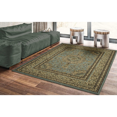Royal Oriental Medallion Light Blue Area Rug - 5X7 - Luna Furniture