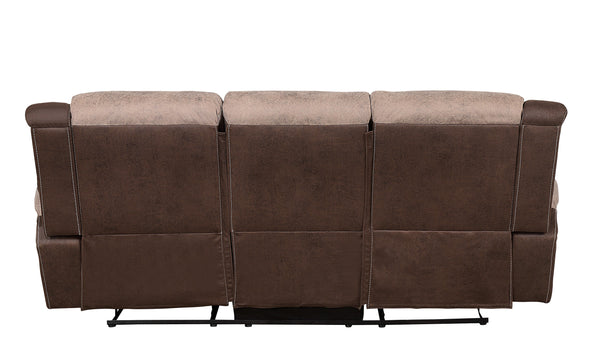 Chai Brown Microfiber Reclining Sofa - Luna Furniture