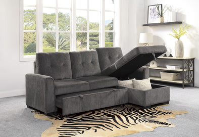 [SPECIAL] Carolina Gray Reversible Sleeper Sectional with Storage - Luna Furniture