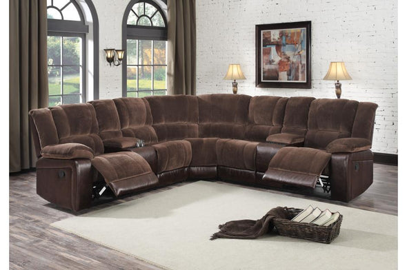 Hankins Brown Reclining Sectional | 9669 - Luna Furniture