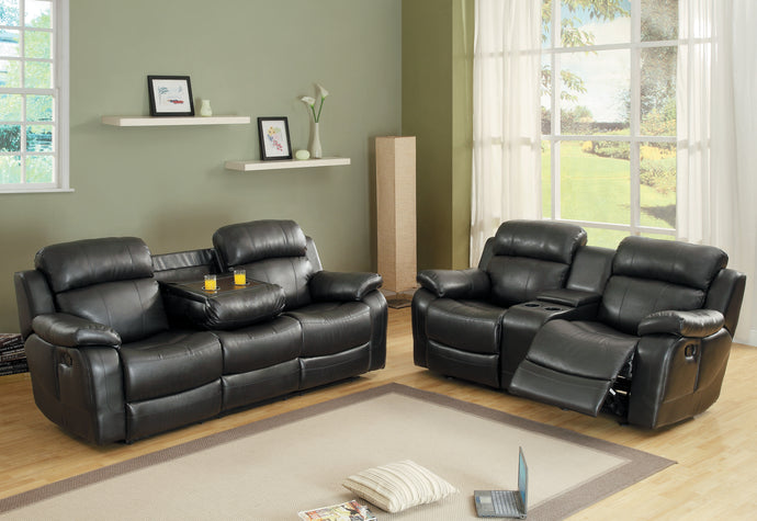 [MONTHLY SPECIAL] Marille Black Bonded Leather Double Reclining Living Room Set | 9724 - Bellaria Furniture HomeStore