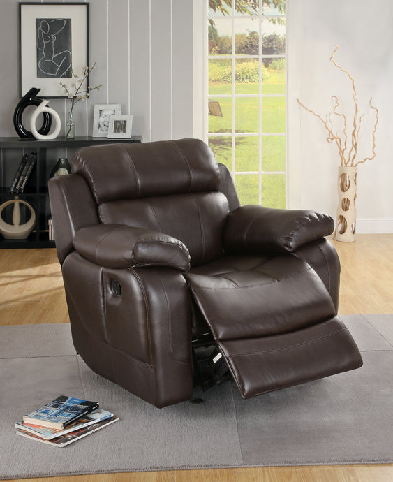 Marille Brown Bonded Leather Glider Reclining Chair | 9724 - Bellaria Furniture HomeStore
