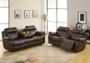 Marille Brown Bonded Leather Reclining Loveseat - Luna Furniture