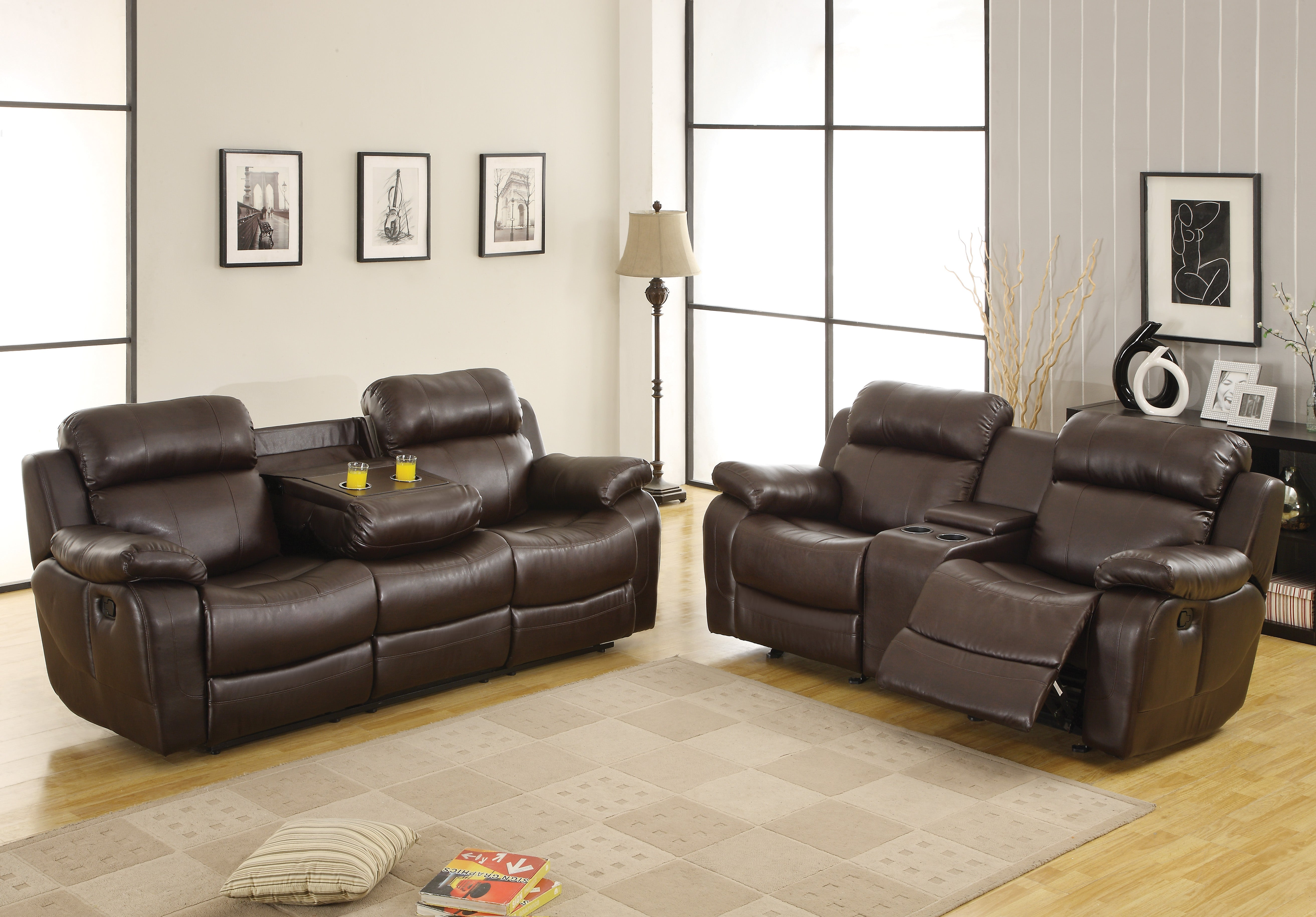 Marille Brown Bonded Leather Double Reclining Living Room Set ...