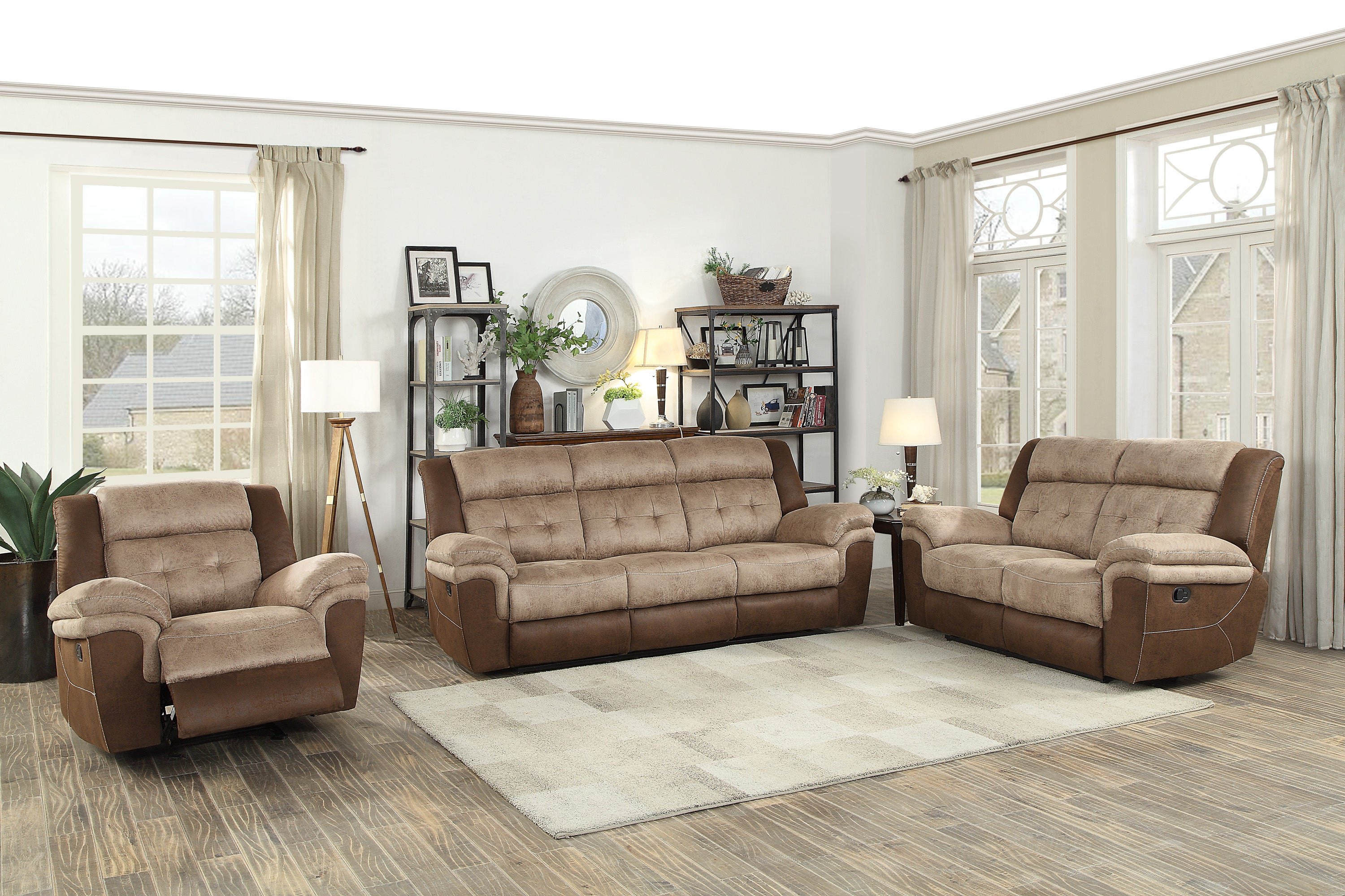 Chai Brown Microfiber Double Reclining Living Room Set