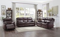 Yerba Brown Microfiber Lay Flat Reclining Living Room Set - Luna Furniture